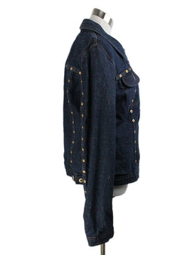 Jacket D& G Blue Denim Gold Trim Leopard Lining Outerwear 2