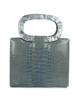 Darby Scott Blue Alligator Mother Of Pearl Handle Hertiage Tote Handbag 1
