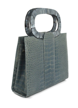 Darby Scott Blue Alligator Mother Of Pearl Handle Hertiage Tote Handbag 2