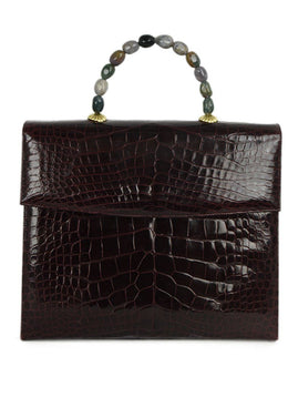 Darby Scott Red Burgundy Alligator Stone Handle Handbag 1