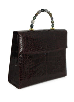 Darby Scott Red Burgundy Alligator Stone Handle Handbag 2
