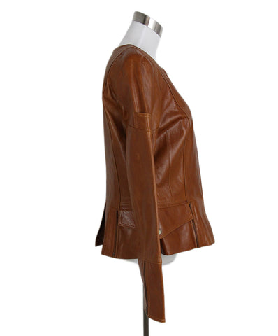 David Meister Cognac Leather Jacket 1