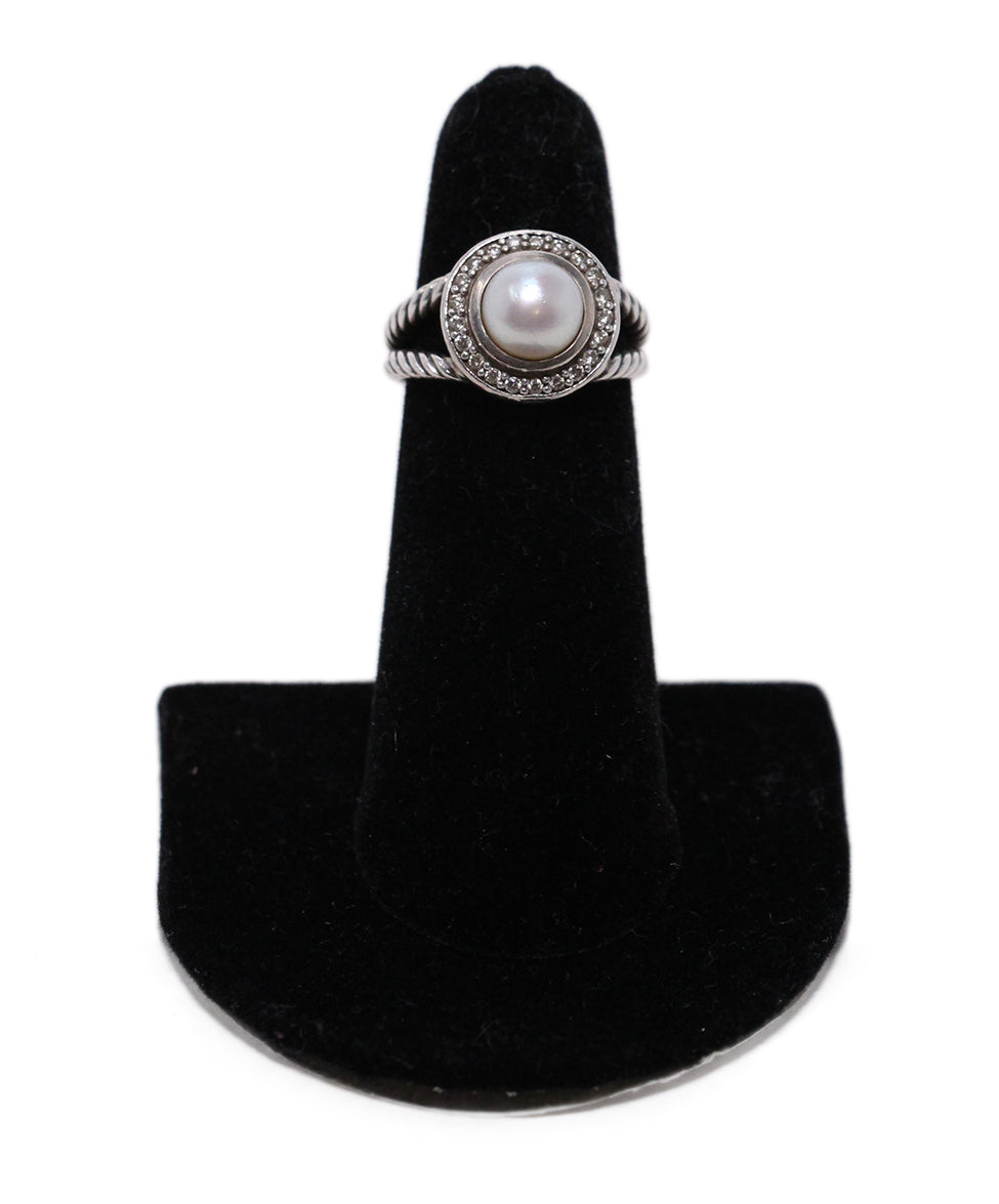 David Yurman Sterling Silver Diamond Pearl Ring 1