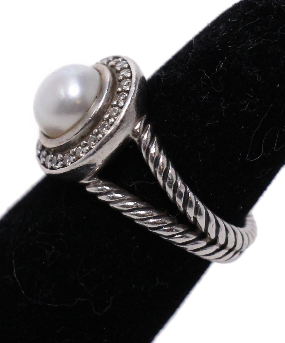 David Yurman Sterling Silver Diamond Pearl Ring 3
