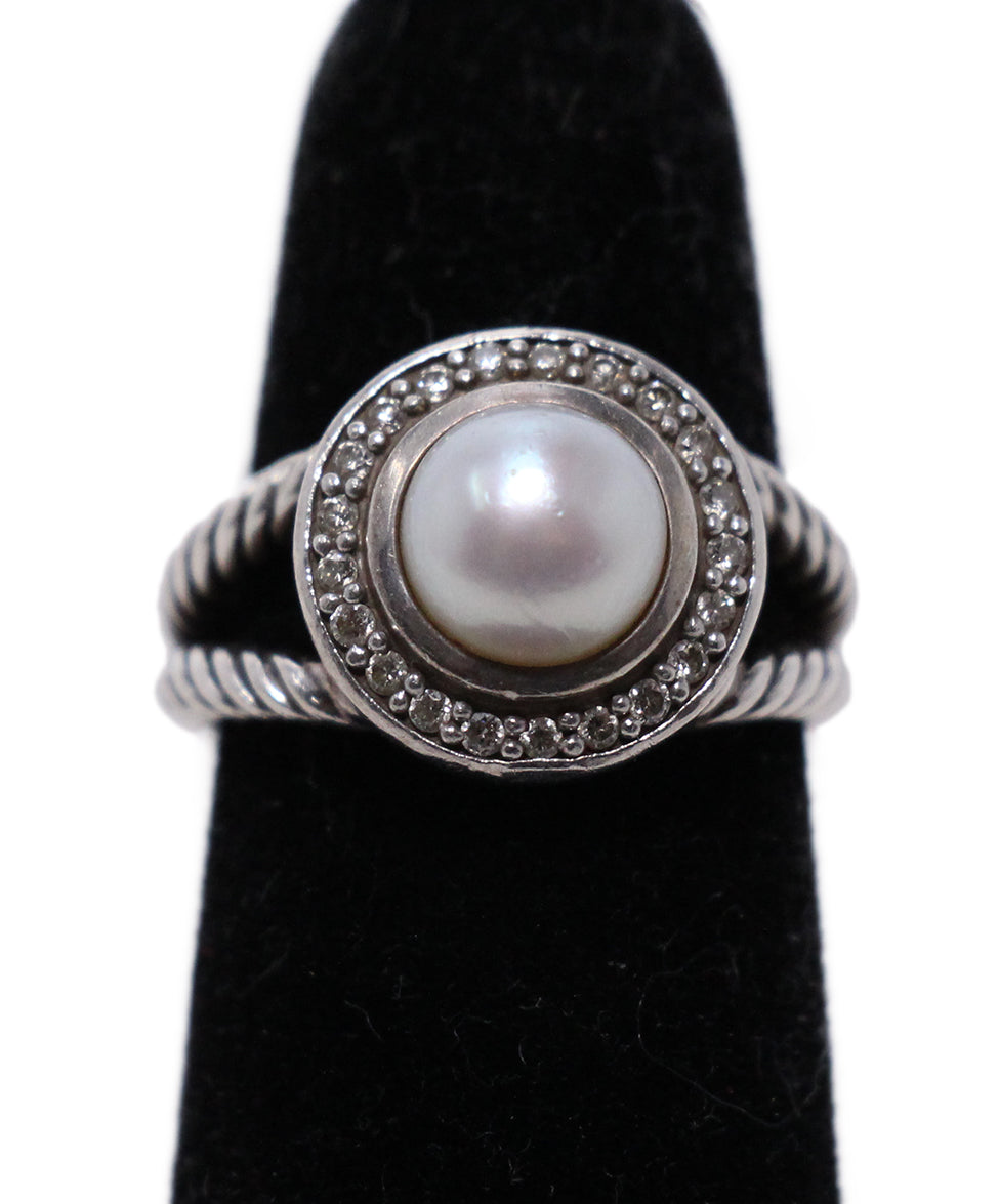David Yurman Sterling Silver Diamond Pearl Ring 4