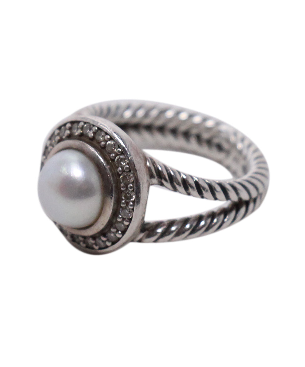 David Yurman Sterling Silver Diamond Pearl Ring 2