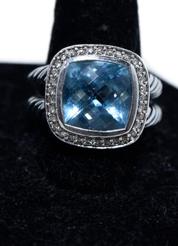 David Yurman Sterling Silver Blue Topaz Diamond Albion Ring 1