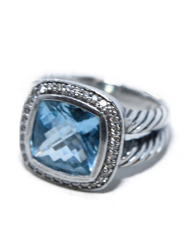 David Yurman Sterling Silver Blue Topaz Diamond Albion Ring 3