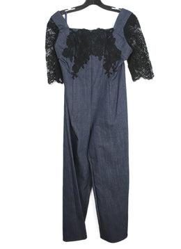 Dark Blue Denim Jumpsuit with Black Lace Details 2