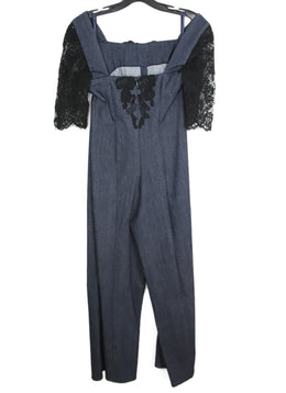 Dark Blue Denim Jumpsuit with Black Lace Details 1