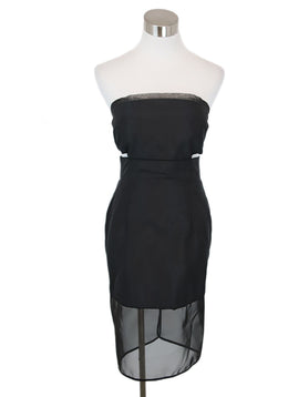Dennis Basso Black Silk Illusion Trim Dress 1