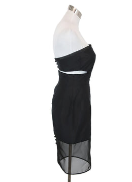 Dennis Basso Black Silk Illusion Trim Dress 2