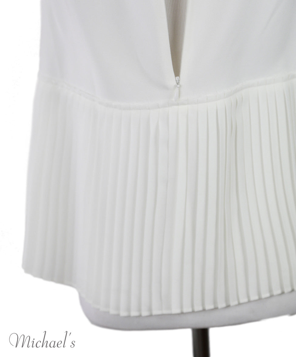 Derek Lam White Triacetate Pleated Trim Top Sz 2