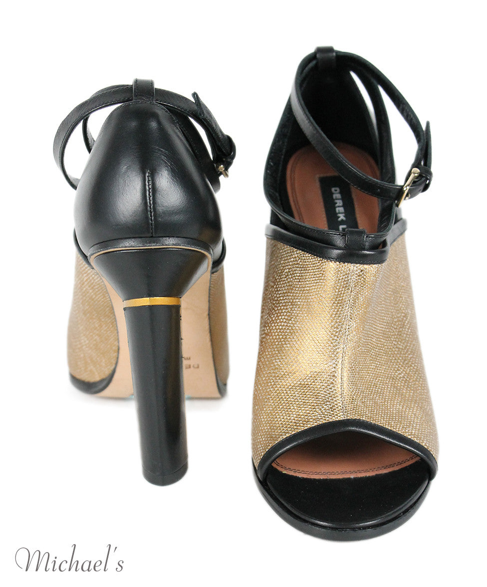 Derek Lam  Black Gold Leather Shoes Sz 38 - Michael's Consignment NYC  - 3