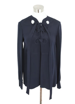 Derek Lam Navy blouse with Ribbon Lace-up Detail 1