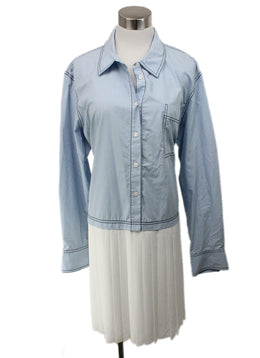Derek Lam Blue Chambray Dress with White Pleated Skirt Detail 1