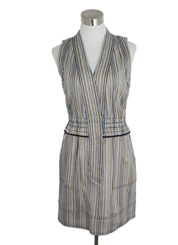 Derek Lam Neutral Striped Denim Dress 1