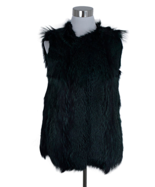 Derek Lam Black Green Fox Fur Vest Outerwear 1