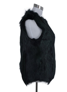 Derek Lam Black Green Fox Fur Vest Outerwear 2