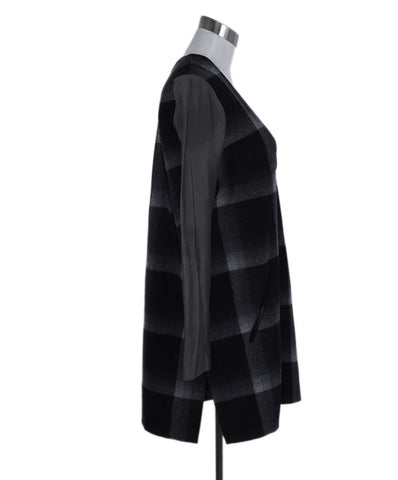 Derek Lam Black Grey Plaid Wool Polyester Trim Dress 1