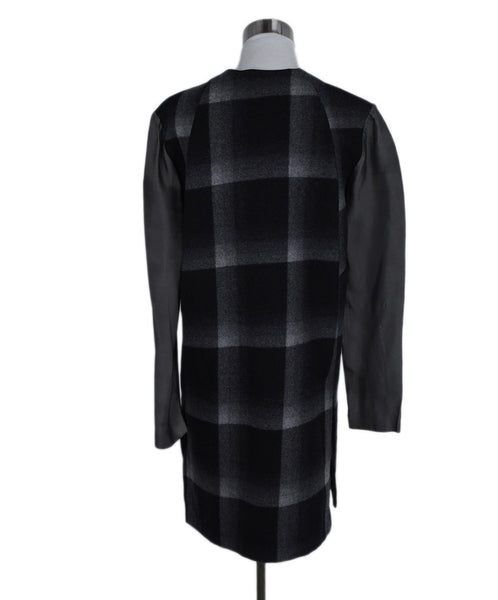 Derek Lam Black Grey Plaid Wool Polyester Trim Dress 3