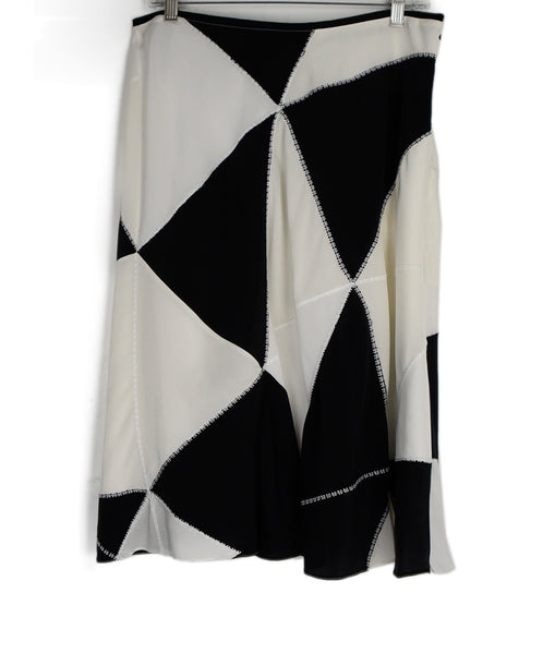 Derek Lam Black White Silk Skirt 1