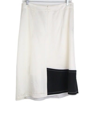 Derek Lam ivory black silk skirt 1