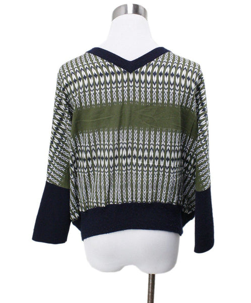 Derek Lam Navy Cashmere Green Silk Sweater Sz 6