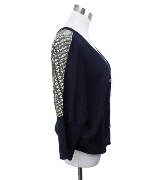 Derek Lam Navy Cashmere Green Silk Sweater 1