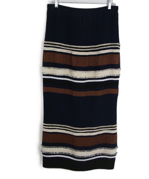 Derek Lam navy brown ivory pleated skirt 1