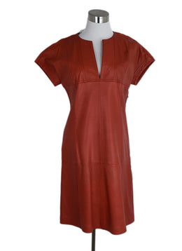 Derek Lam Orange Rust Leather Dress 1