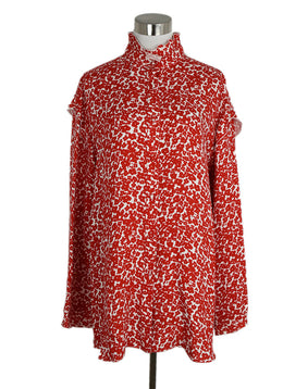Derek Lam Red and White Flower Motif Silk Blouse sz. 12 | Derek Lam