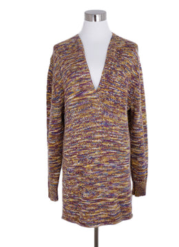 Derek Lam Yellow Purple Wool Cashmere Tunic Sweater 1