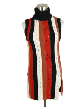 Derek Lam Black Brown Orange White Cotton Sweater 1