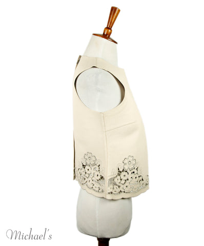 Dolce & Gabbana Cream Leather Cut-work Embroidery Top Sz 38