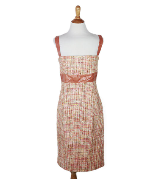 Dolce & Gabbana Orange  Cotton Tweed Python Trim Dress Sz 42