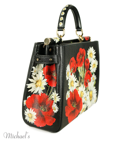 Dolce & Gabbana Black Red Floral Print Leather Handbag