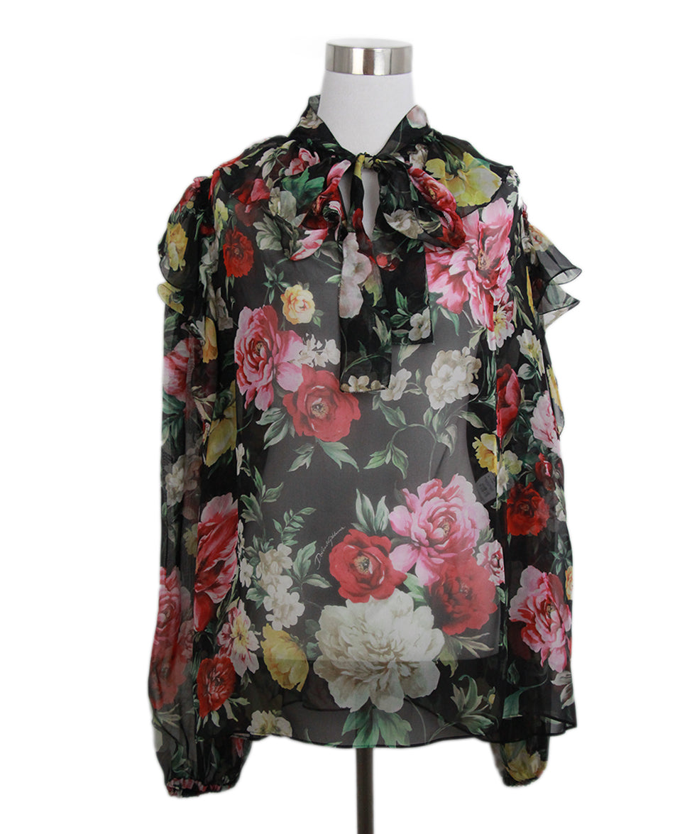 Dolce & Gabbana Black red floral blouse 1