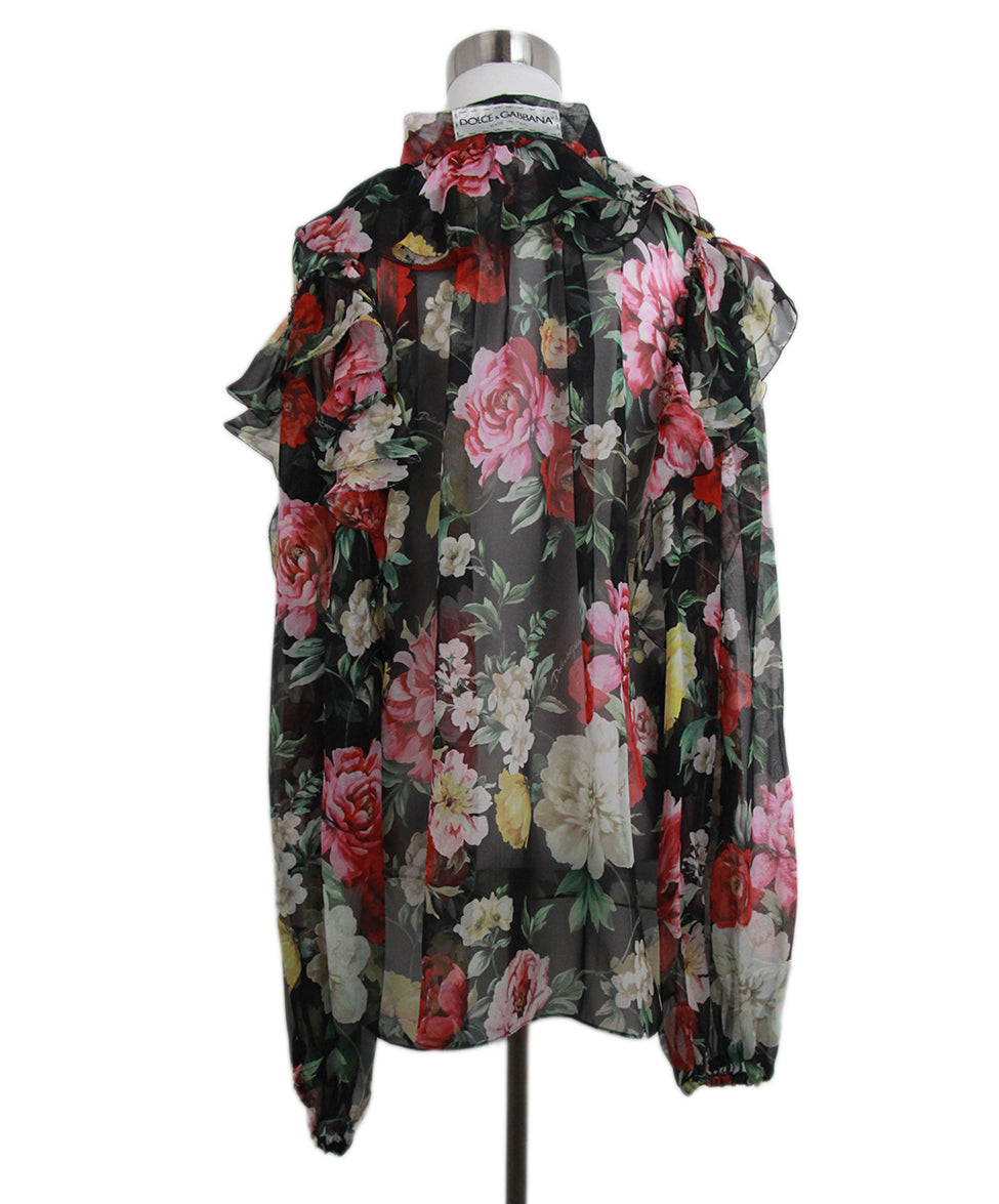 Dolce & Gabbana Black red floral blouse 3