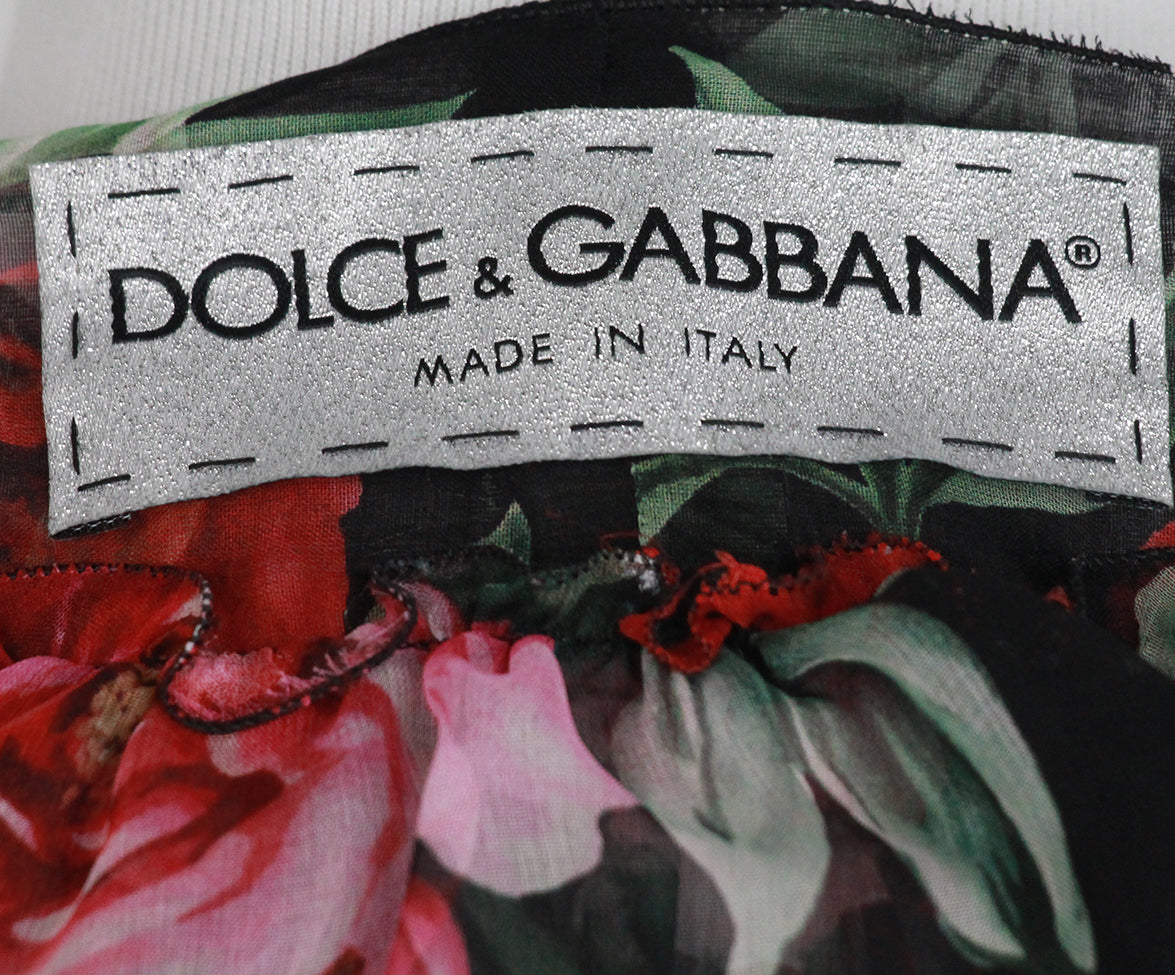 Dolce & Gabbana Black red floral blouse 4
