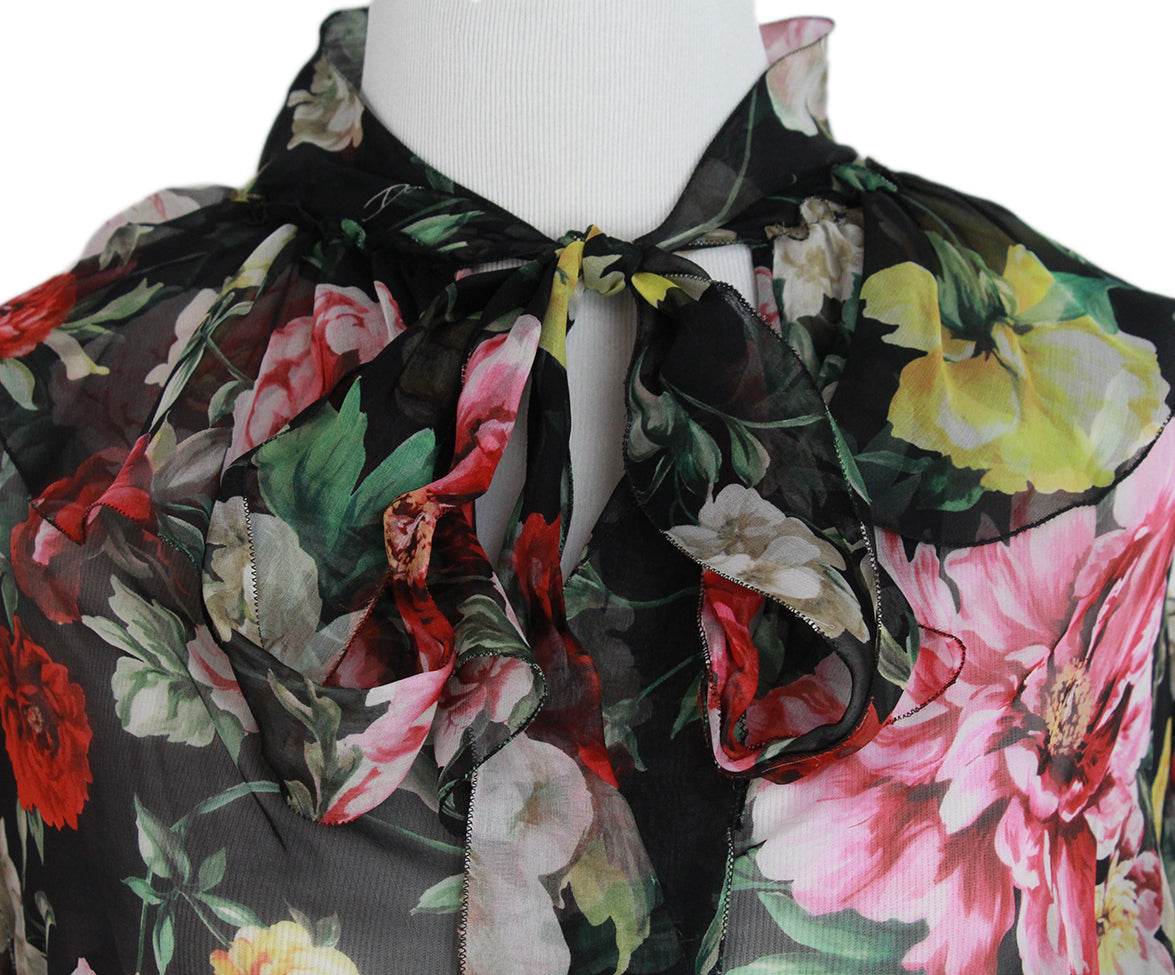 Dolce & Gabbana Black red floral blouse 6