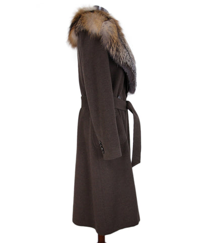 Dolce & Gabbana Brown Wool Fur Trim Coat 1