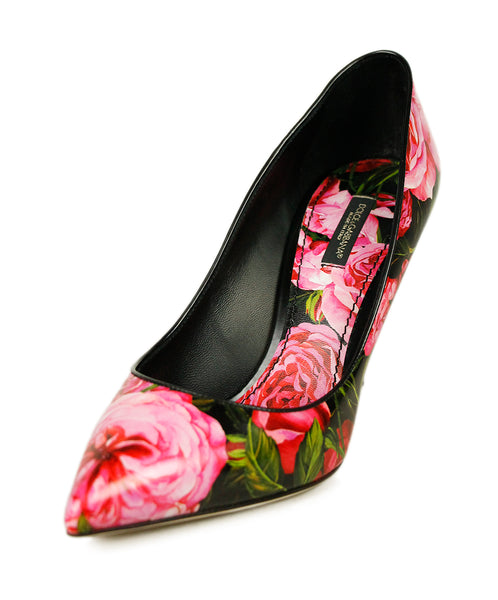 Dolce & Gabbana Pink Green Black Leather Shoes Sz 39