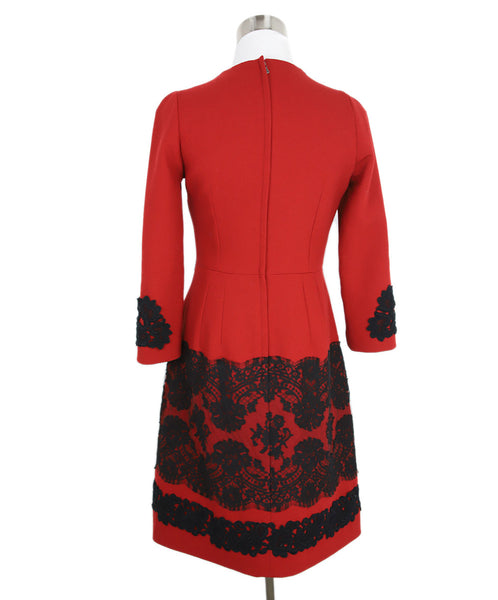 Dolce & Gabbana Size 4 Red Wool Black Cotton Lace Longsleeve Dress 1