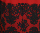 Dolce & Gabbana Size 4 Red Wool Black Cotton Lace Longsleeve Dress 5