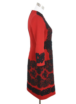 Dolce & Gabbana Size 4 Red Wool Black Cotton Lace Longsleeve Dress 3