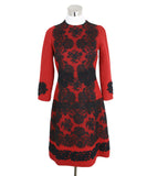 Dolce & Gabbana Size 4 Red Wool Black Cotton Lace Longsleeve Dress 2