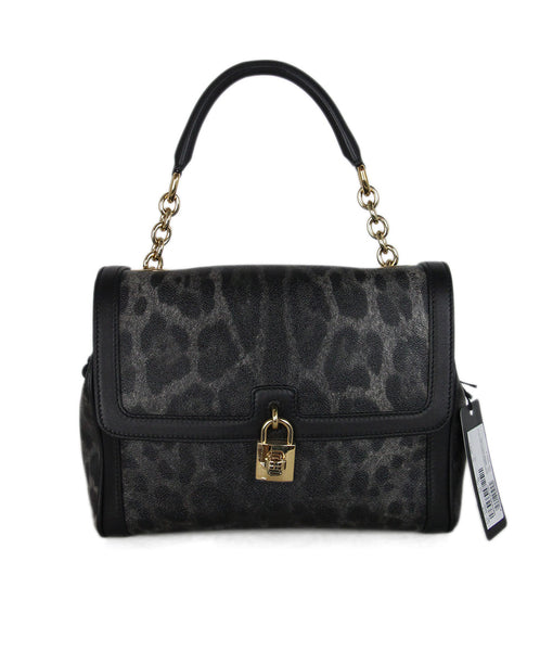 Dolce & Gabbana black grey leather shoulder bag 1