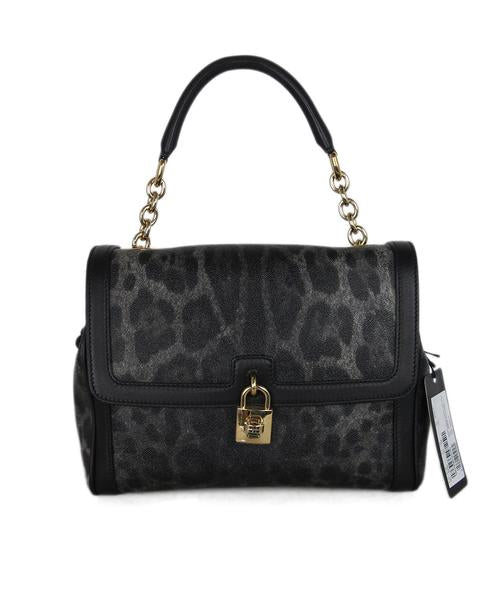 Dolce & Gabbana Borsa A Mano Crespo Black Grey Leather Leopard Print Bag
