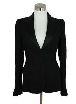Dolce & Gabbana Size 2 Black Lace Satin Trim Jacket 1